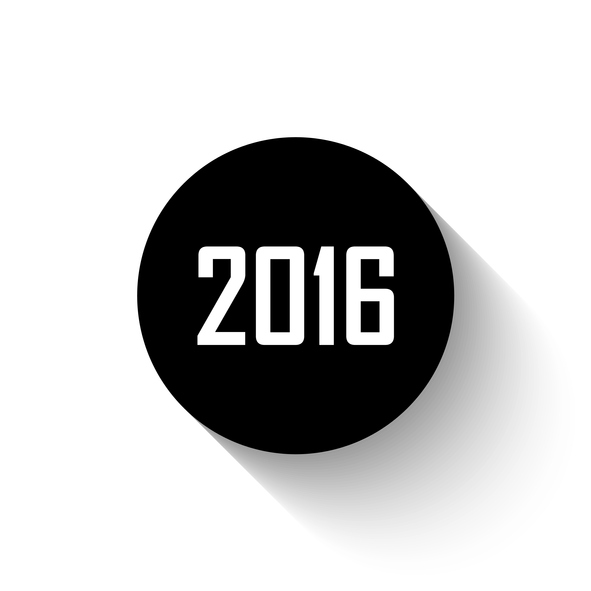 Happy new year 2016 - black vector icon