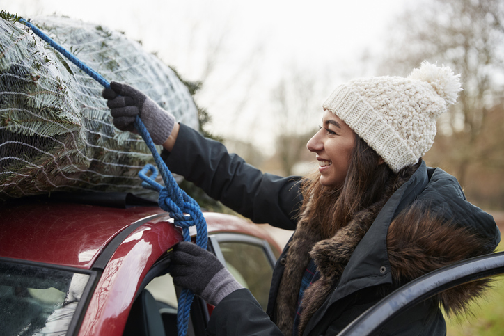 Young woman tying Christmas tree to roof of a car, close up